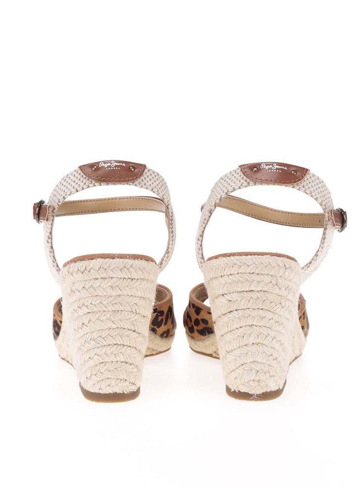 Sandale Pepe Jeans maro cu print