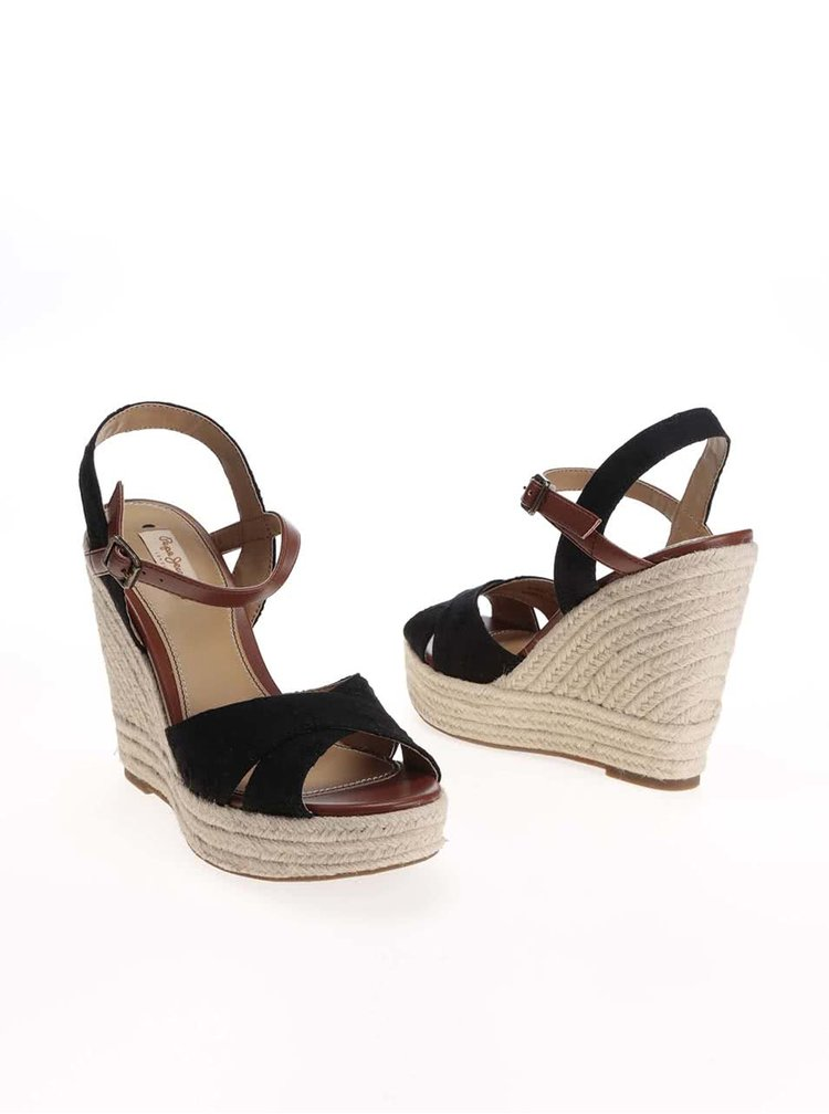 Čierne dámske sandále na platforme Pepe Jeans