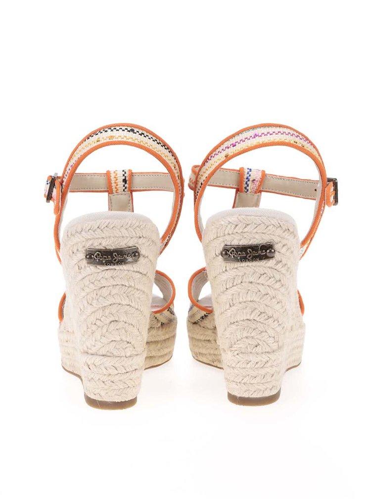 Sandale Pepe Jeans bej cu portocaliu