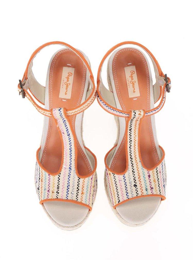 Oranžovo-béžové dámské dámské sandálky na platformě a klínku Pepe Jeans