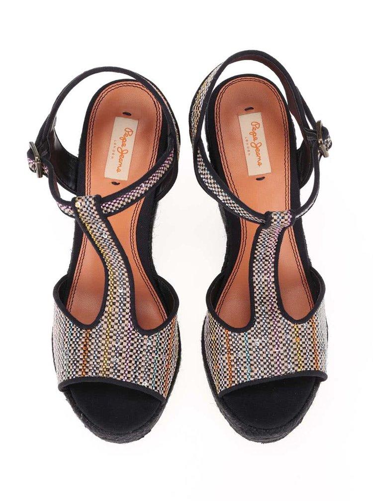 Sandale Pepe Jeans negre, cu paiete