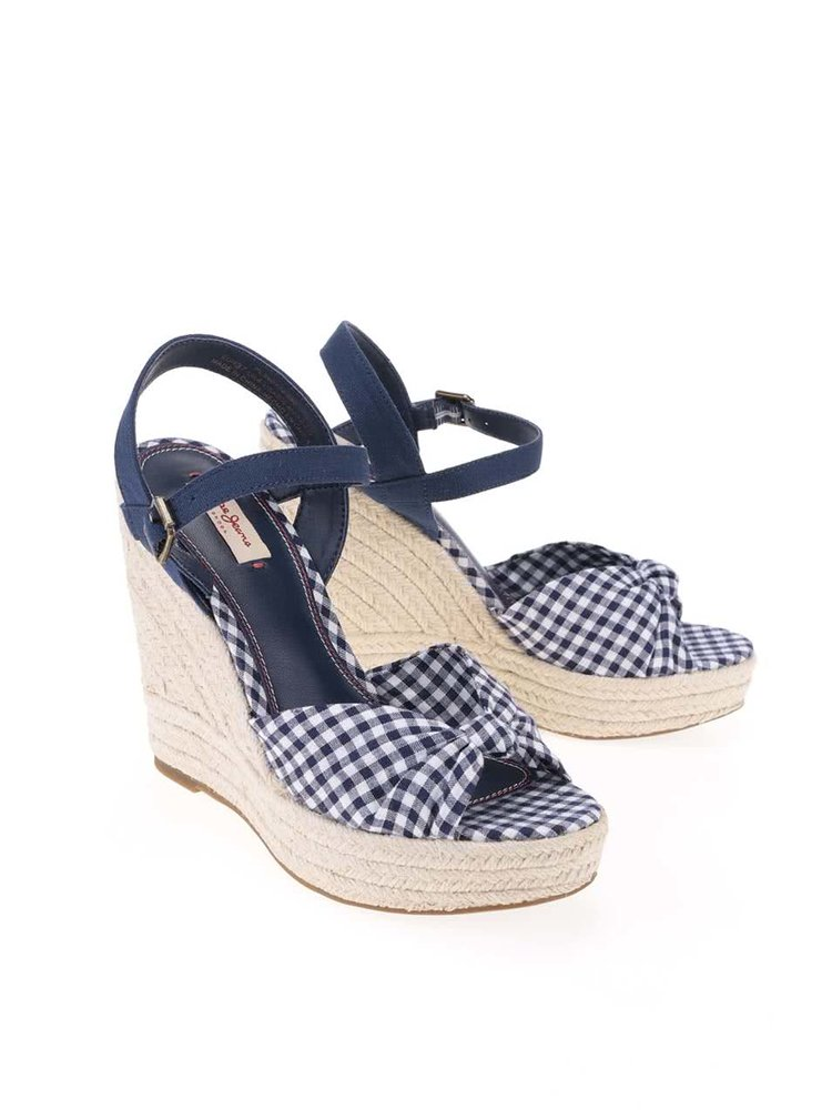 Tmavě modré dámské kostkované sandálky na platformě a klínku Pepe Jeans