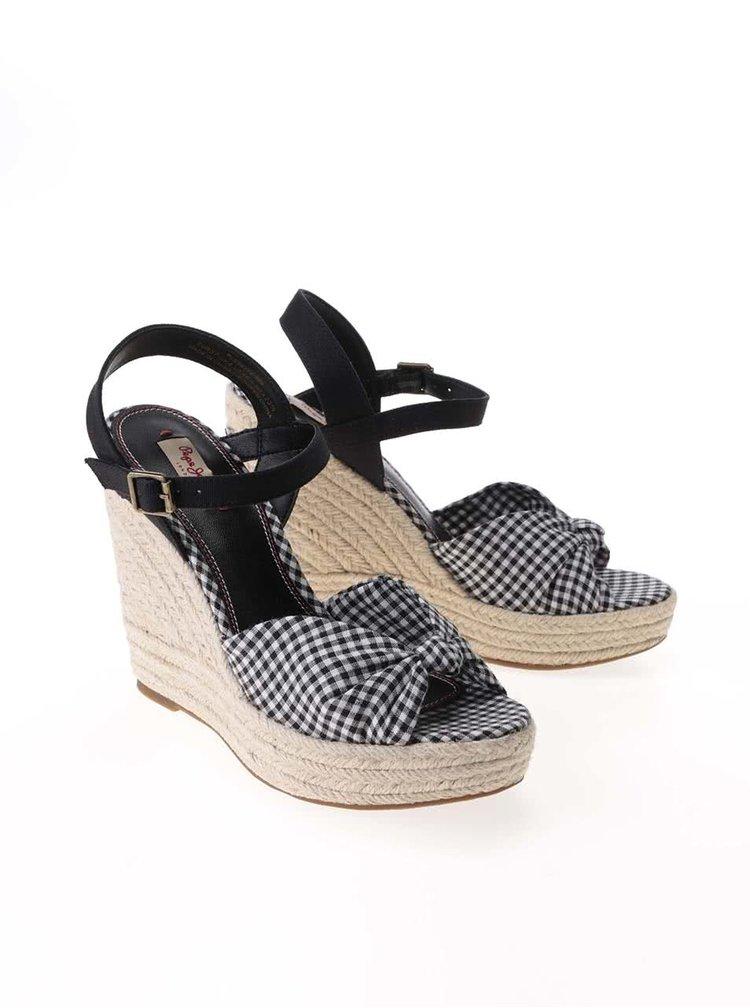 Sandale Pepe Jeans negre în carouri, cu platformă