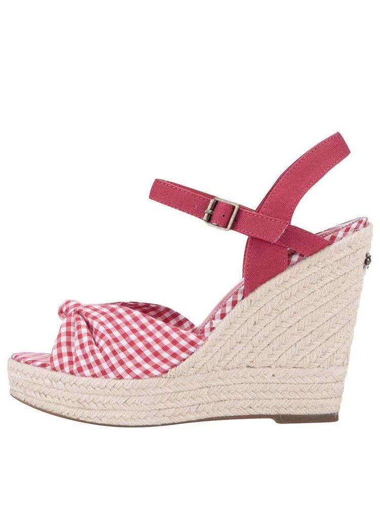 Sandale Pepe Jeans rosii in carouri, cu platforma