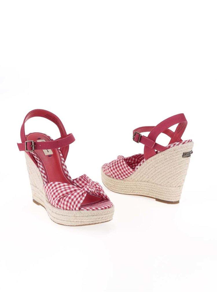 Červené dámské kostkované sandálky na platformě a klínku Pepe Jeans