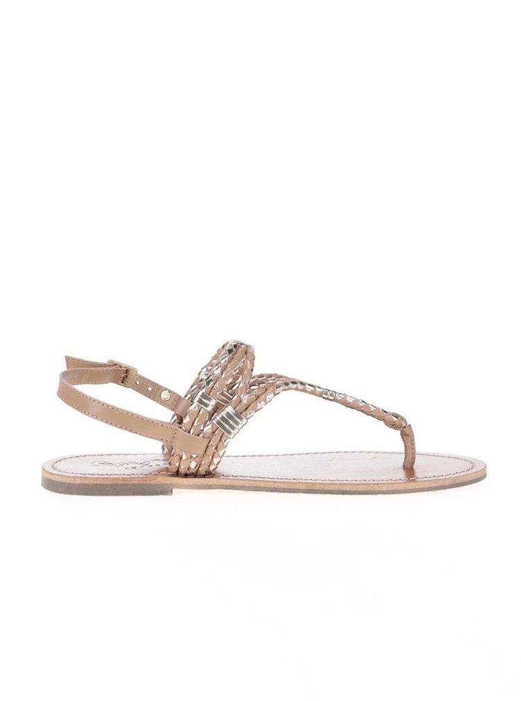 Hnedé dámske zdobené kožené sandále Pepe Jeans
