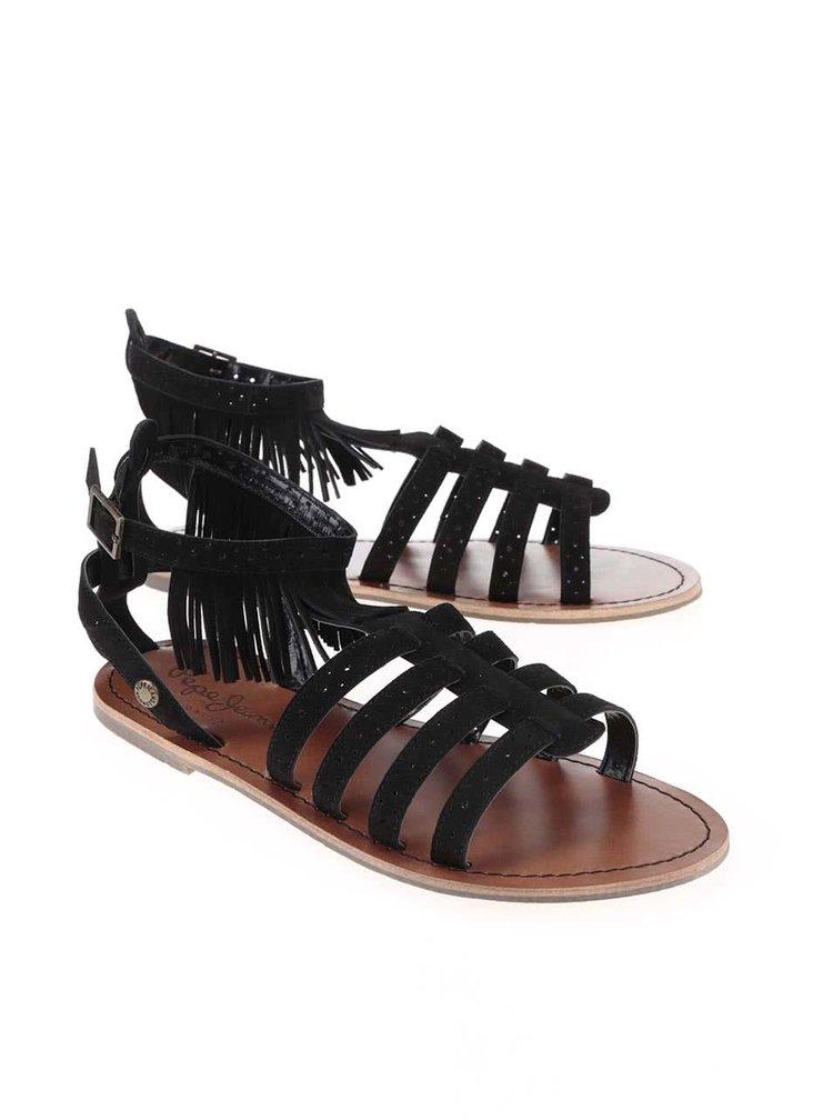 Sandale Pepe Jeans negre cu franjuri