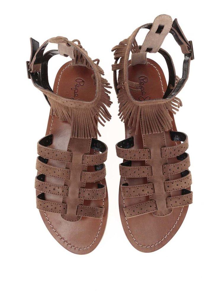 Sandale Pepe Jeans maro cu franjuri