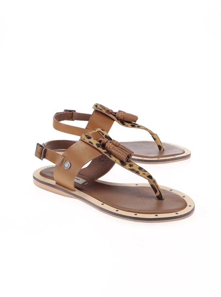 Hnědé dámské kožené sandálky se vzorem Pepe Jeans