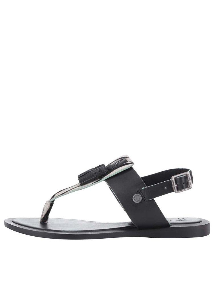 Sandale Pepe Jeans negre, cu print