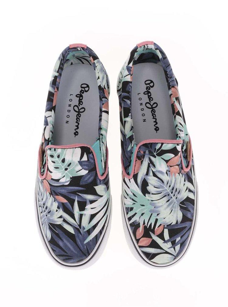 Farebné dámske slip on tenisky so vzorom listov Pepe Jeans