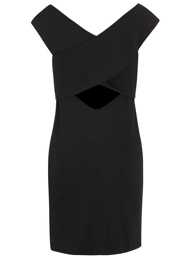 Čierne šaty s lodičkovým výstrihom ONLY Daria