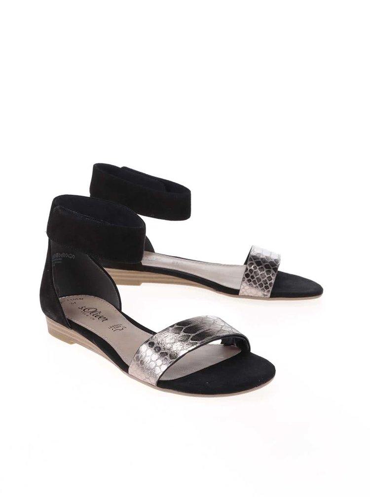 Sandale s.Oliver negre, din piele