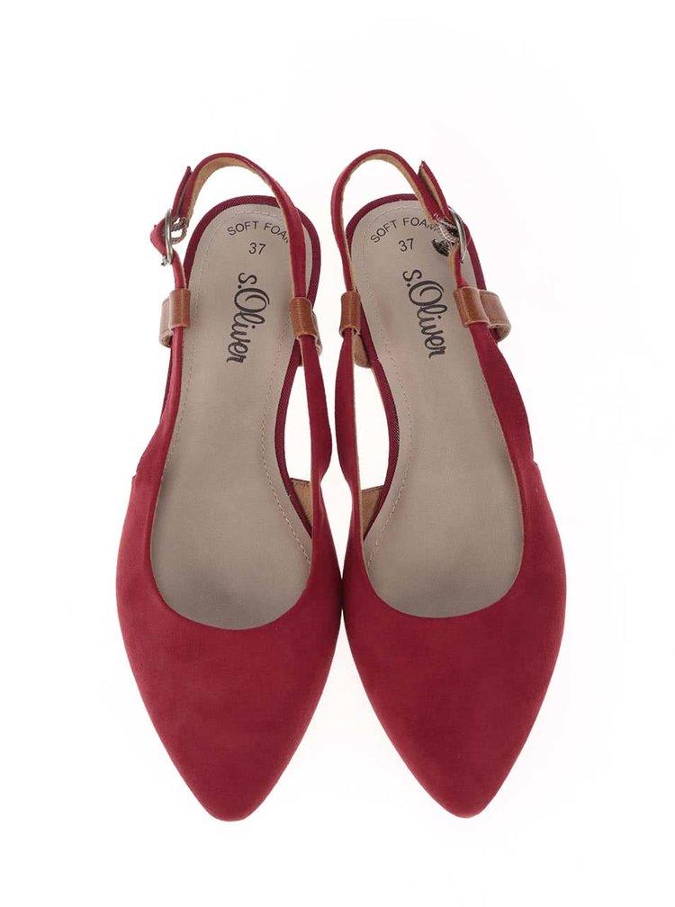 Červené baleríny s otevřenou patou s.Oliver