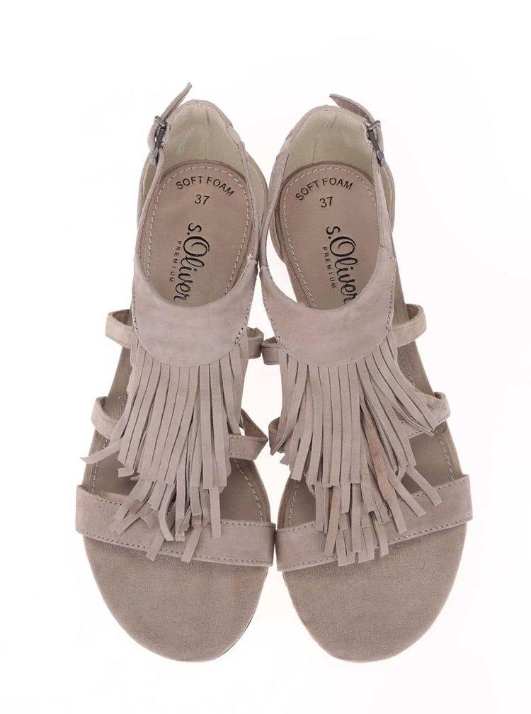 Béžové semišové sandály s třásněmi s.Oliver