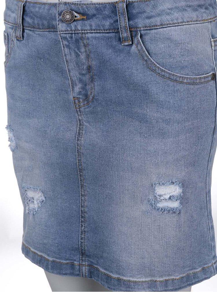 Svetlomodrá rifľová sukňa s potrhaným efektom VERO MODA Be Lea