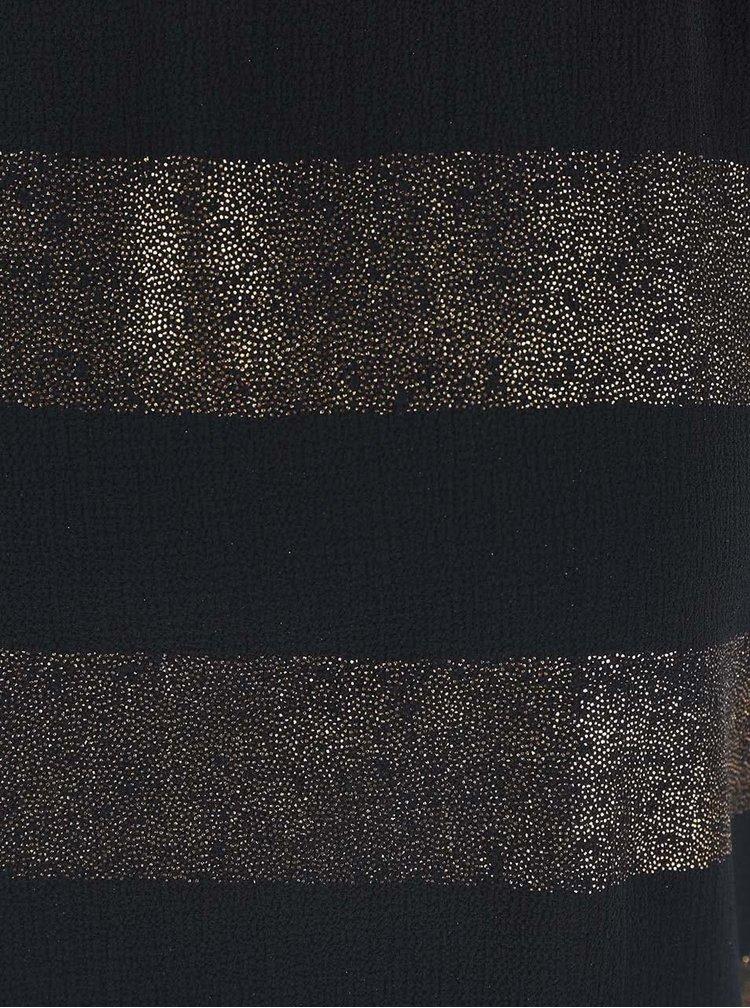 Černý dámský top s pruhy ve zlaté barvě Alchymi Auriga