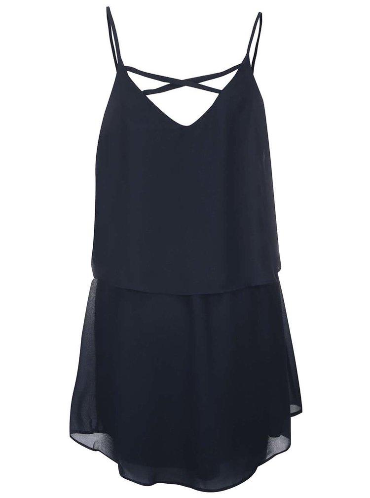 Tmavomodré šaty na ramienka VILA Sora