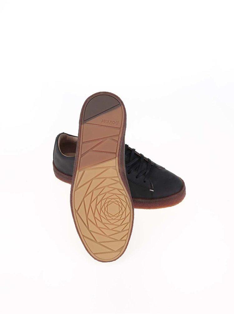 Čierne pánske kožené tenisky Pointer John