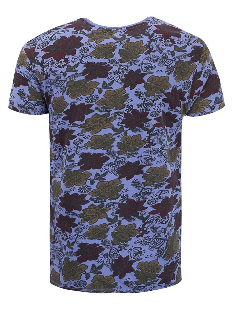 Fialovomodré kvetované tričko Dstrezzed