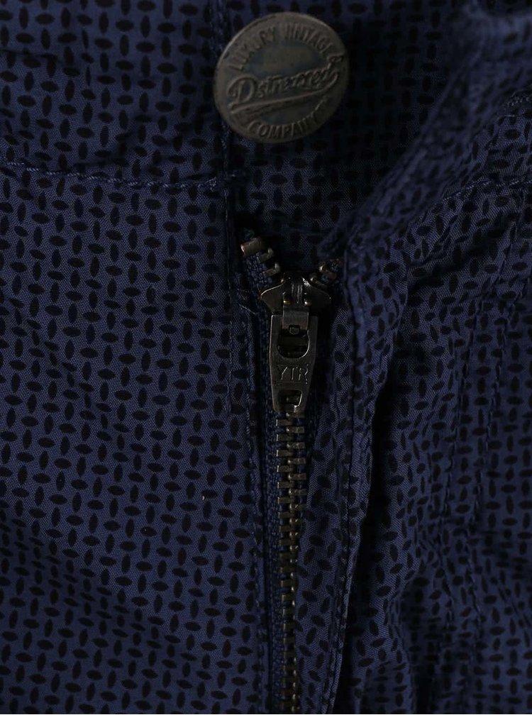 Tmavomodré vzorované kraťasy s opaskom Dstrezzed