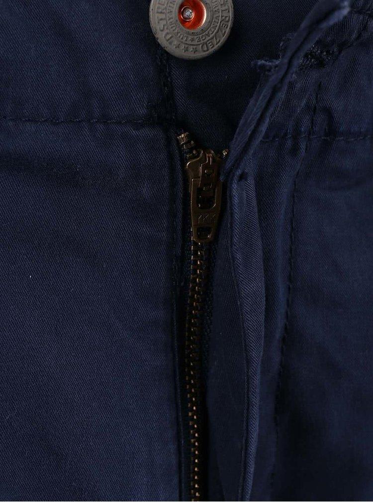 Tmavomodré kapsáčové kraťasy s opaskom Dstrezzed