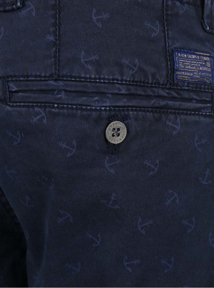 Tmavě modré vzorované kalhoty s páskem Dstrezzed