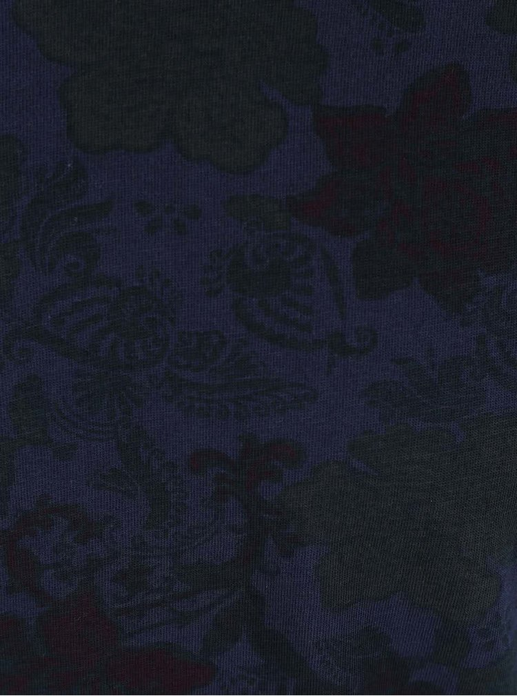 Tmavomodré kvetinové tričko Dstrezzed