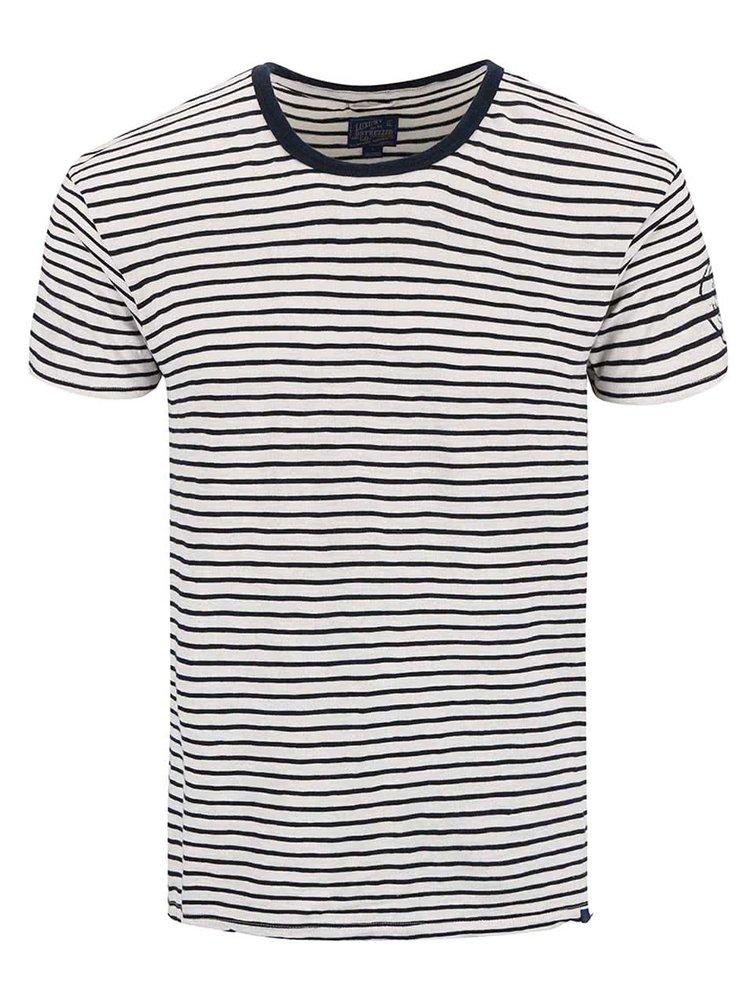 Modro-krémové pruhované tričko Dstrezzed