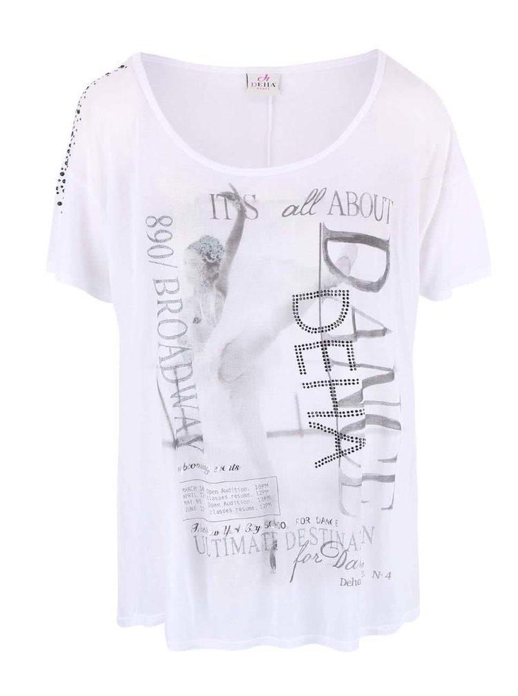 Tricou DEHA Dance alb, translucid