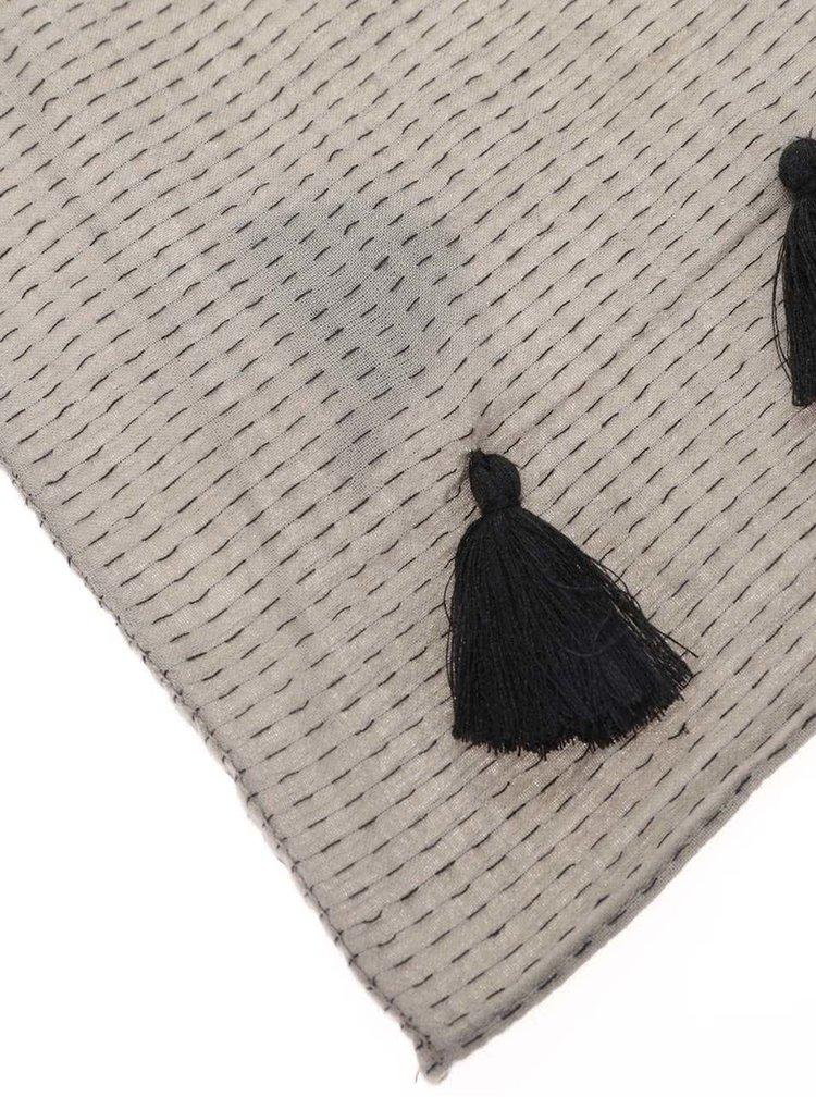 Šedý dutý šátek se vzorem Pieces Bagga
