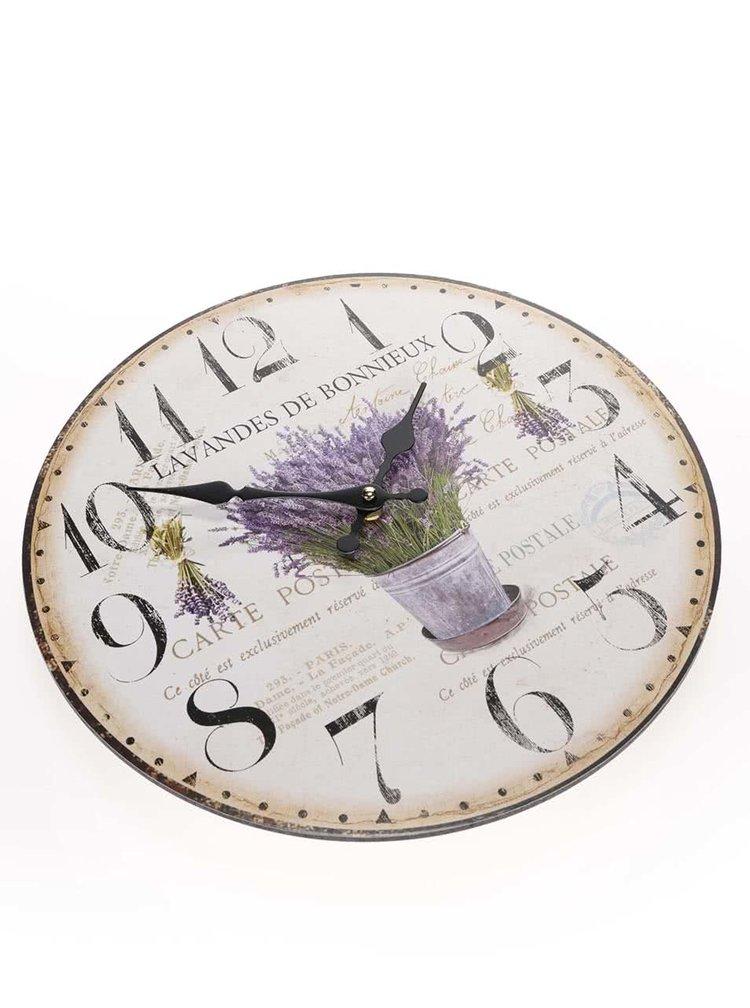 Béžové dřevěné hodiny s levandulí Dakls
