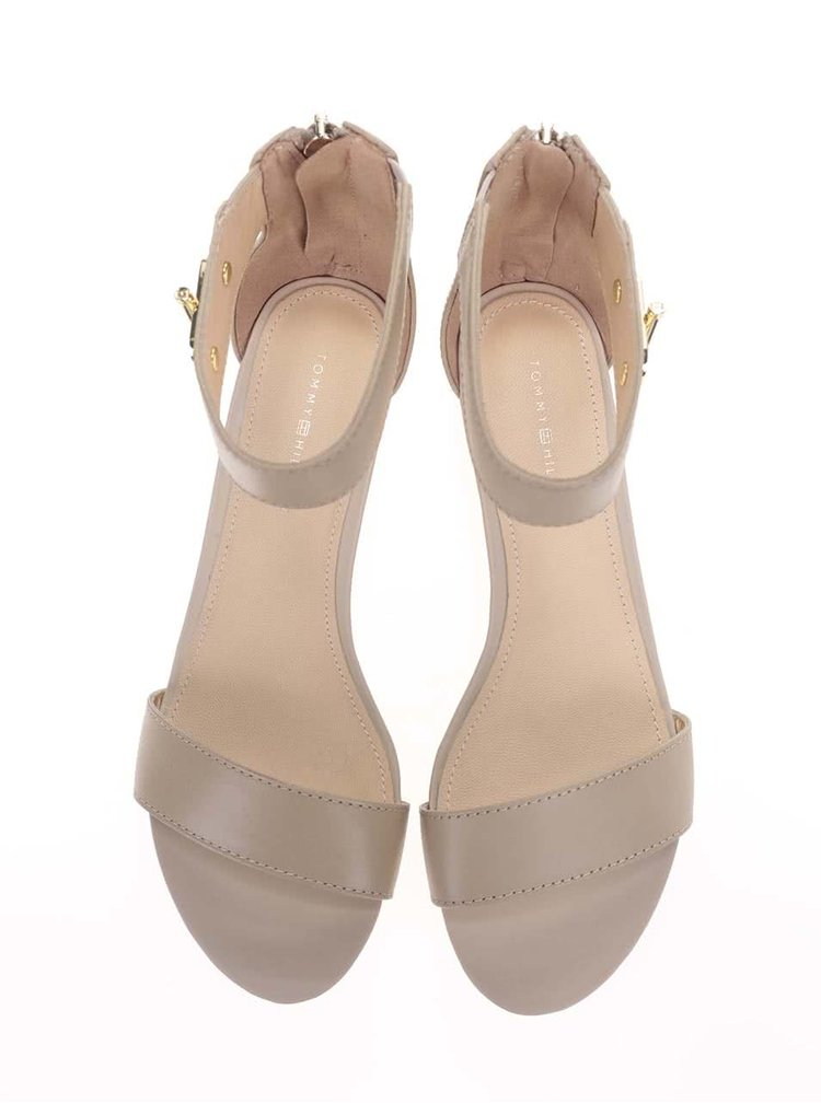 Béžové dámske kožené sandále Tommy Hilfiger