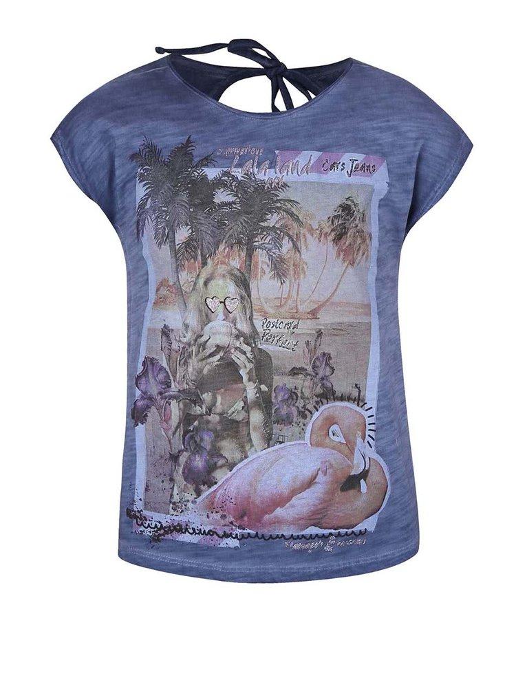 Tmavomodré dievčenské tričko bez rukávov Cars Jeans Cameron