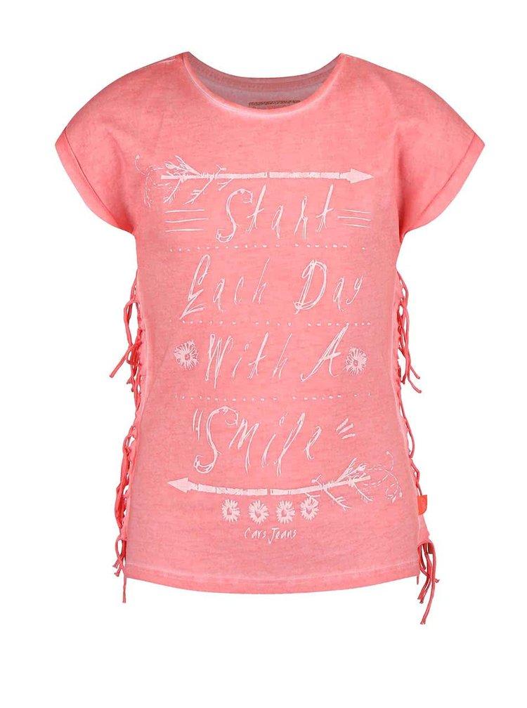 Koralové dievčenské tričko so strapcami Cars Jeans Bonny