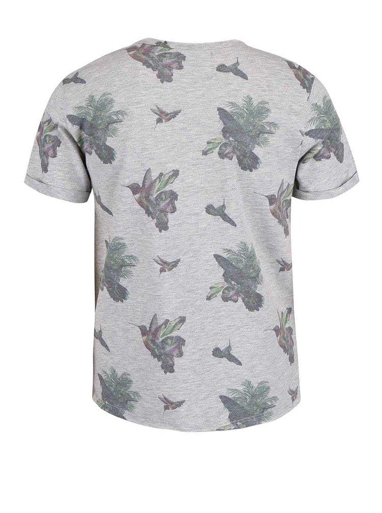 Sivé chlapčenské tričko s vtáčikmi Cars Jeans Poggio