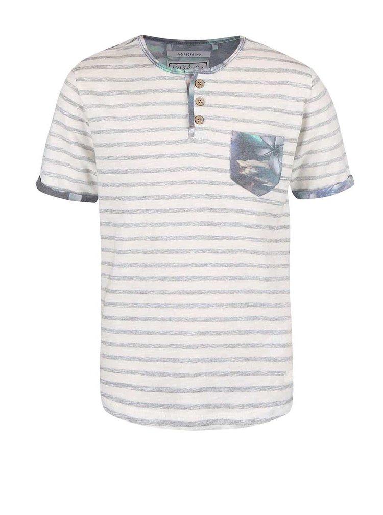 Bílo-šedé klučičí tričko s kapsičkou Cars Jeans Dello