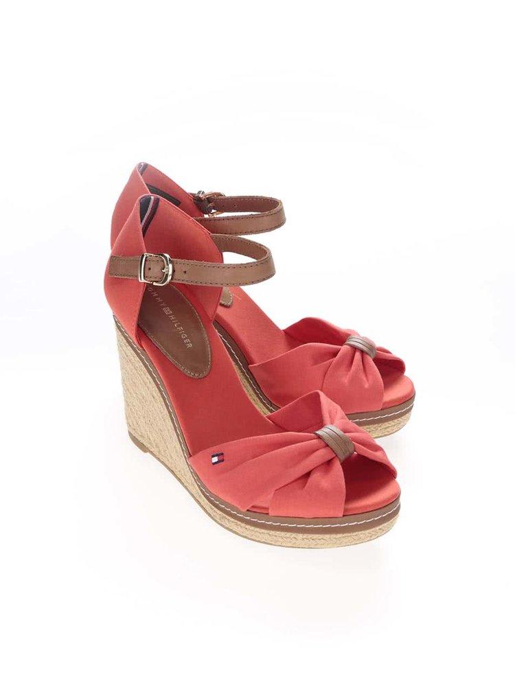 Červené dámské boty na klínku Tommy Hilfiger