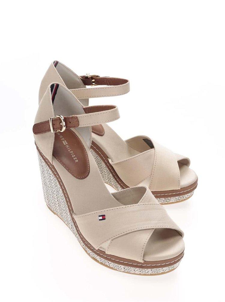 Béžové dámske bavlnené topánky na platforme Tommy Hilfiger
