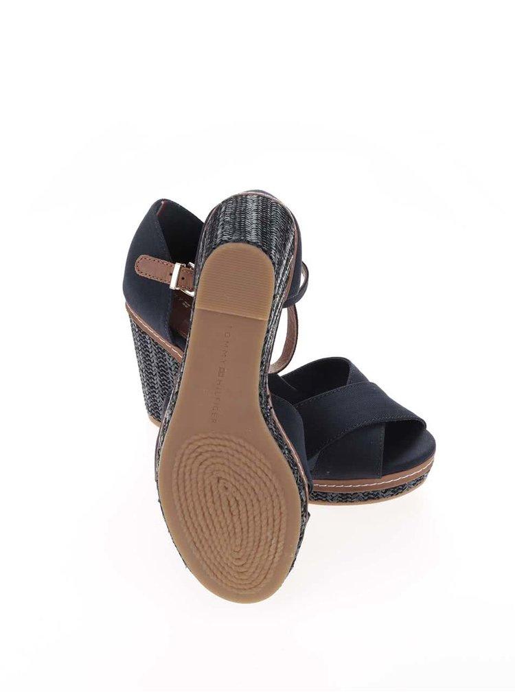 Modré dámské bavlněné boty na klínku Tommy Hilfiger