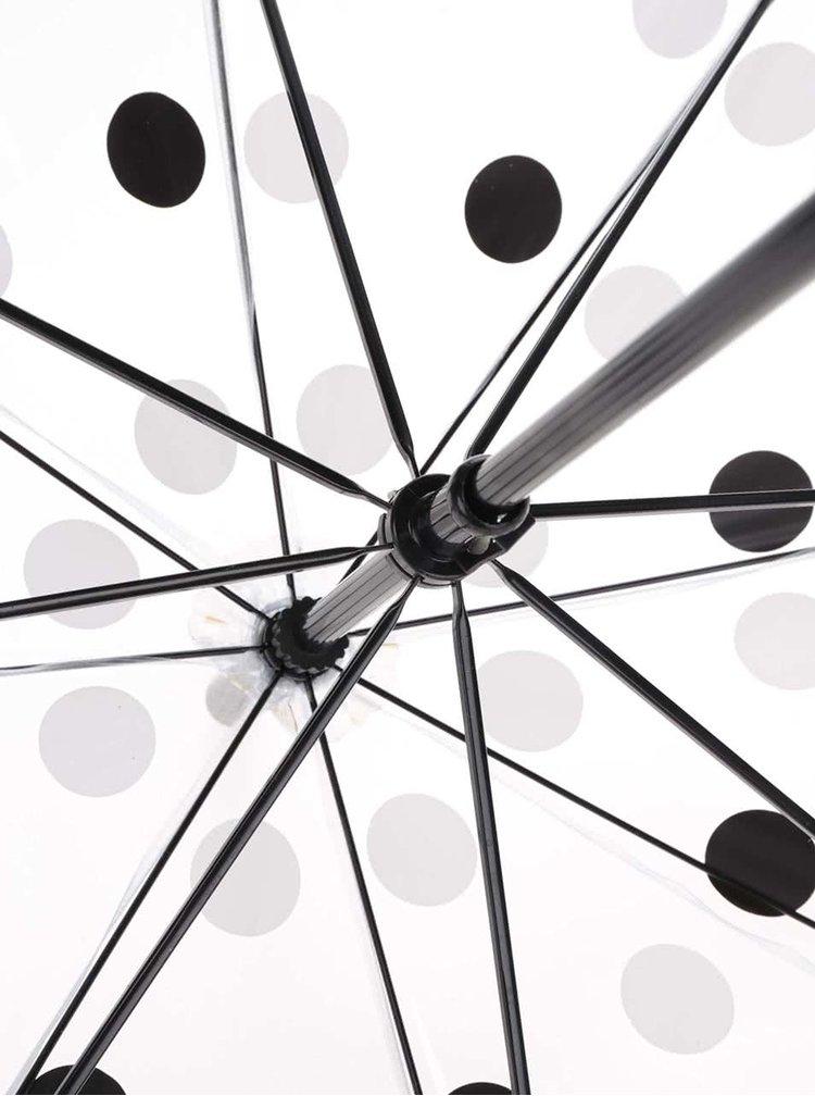 Priehľadný dáždnik s čierno-bielymi bodkami Lindy Lou Chaplin