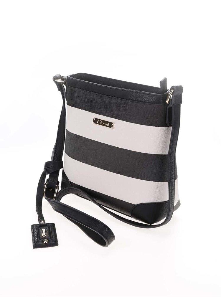 Bielo-čierna pruhovaná crossbody kabelka Gionni Nissa