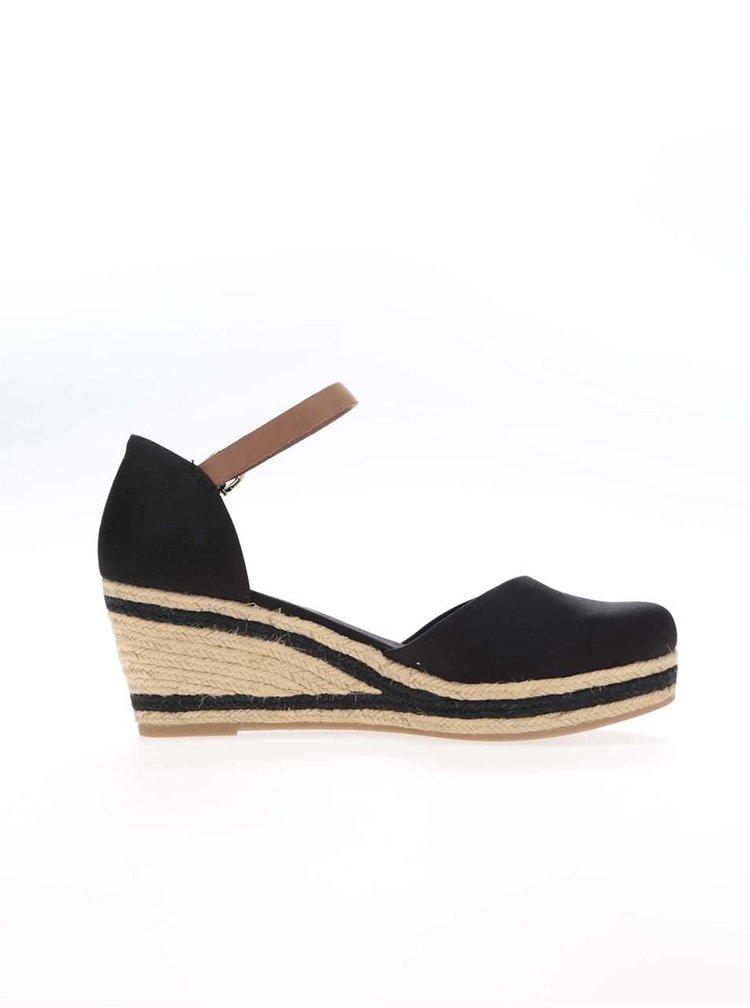 Černé dámské nižší bavlněné boty na klínku Tommy Hilfiger