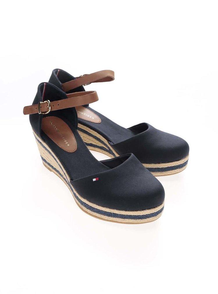 Tmavomodré dámske bavlnené topánky na platforme Tommy Hilfiger
