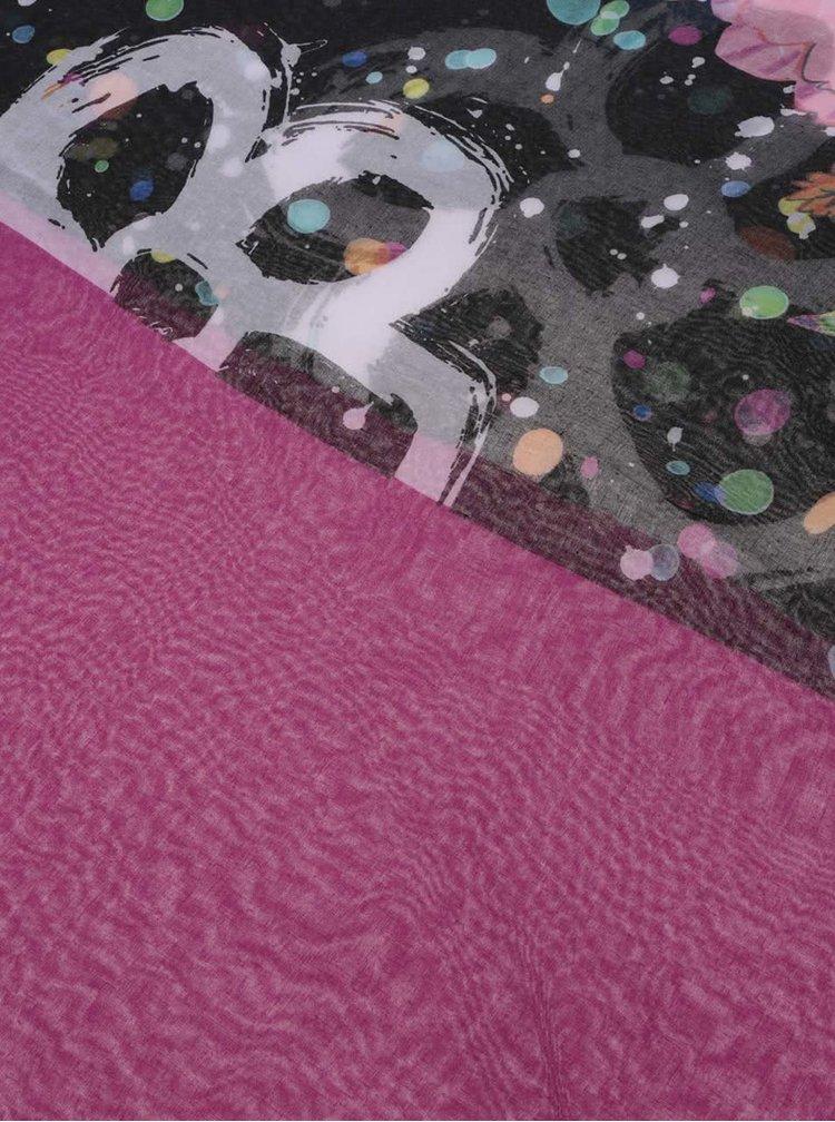 Eșarfă Desigual Foulard violet, cu model