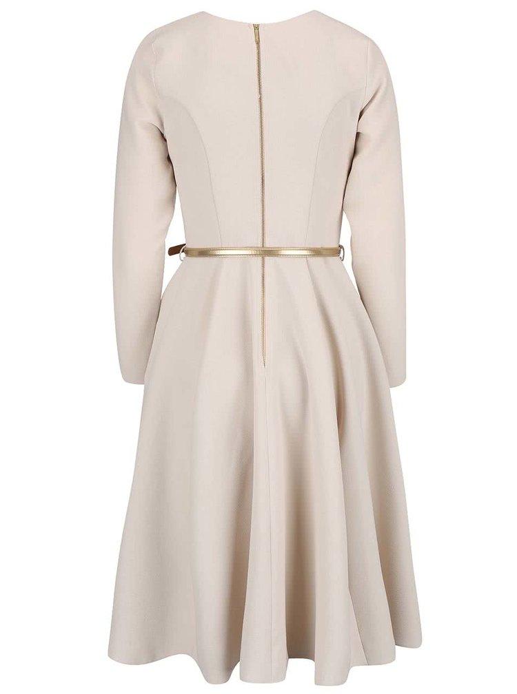 Krémové šaty s páskem v zlaté barvě Closet