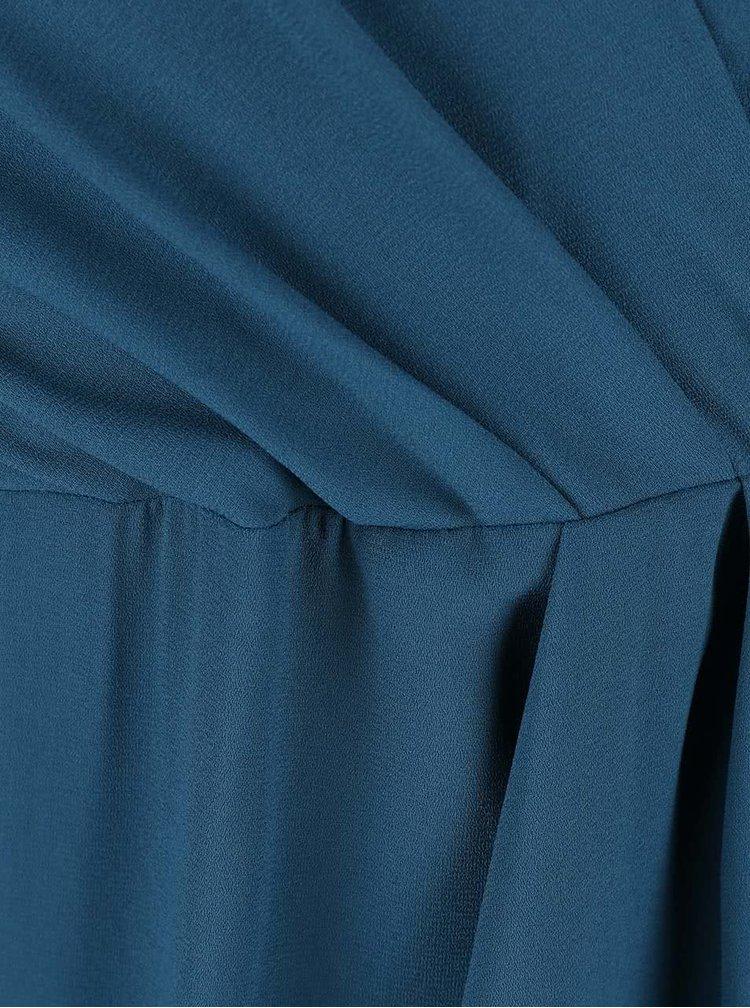 Petrolejové šaty s vázáním kolem pasu Closet