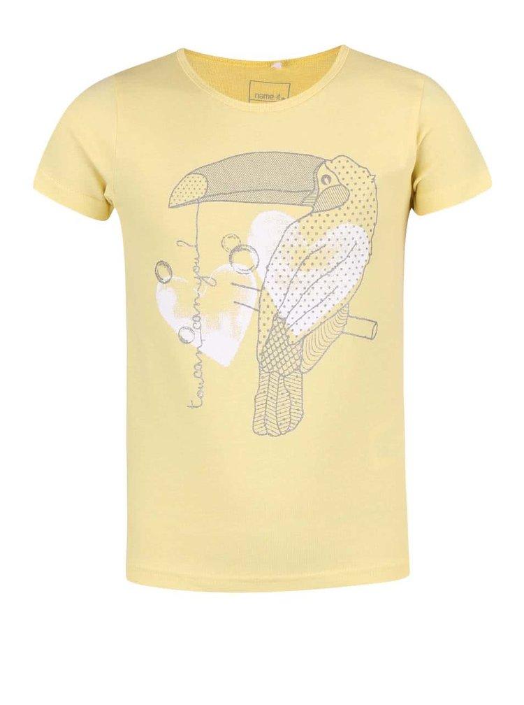 Žlté dievčenské tričko s tukanom name it Veen