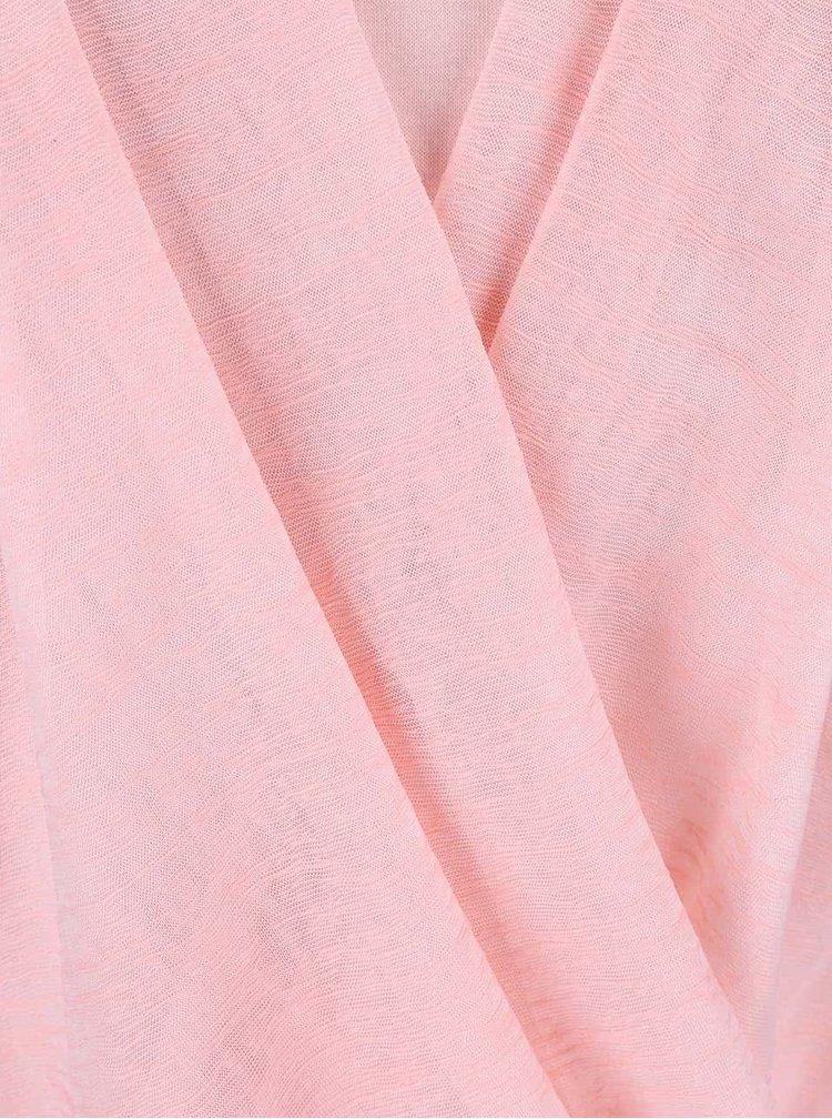 Růžový top s krajkou na ramenou Madonna