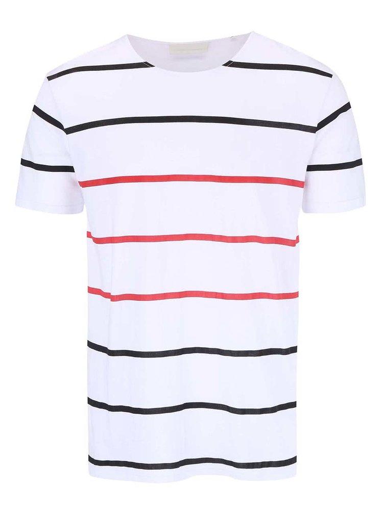 Bílé triko s pruhy Tailored & Originals Ridgemont